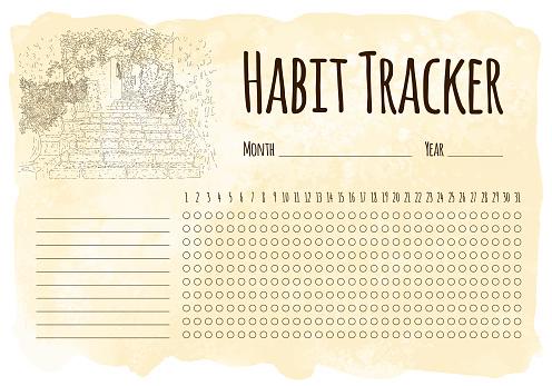 Habit tracker. City sketching. Line art silhouette. Travel card. Tourism concept. France, Saint-Paul-de-Vence. Vector illustration.