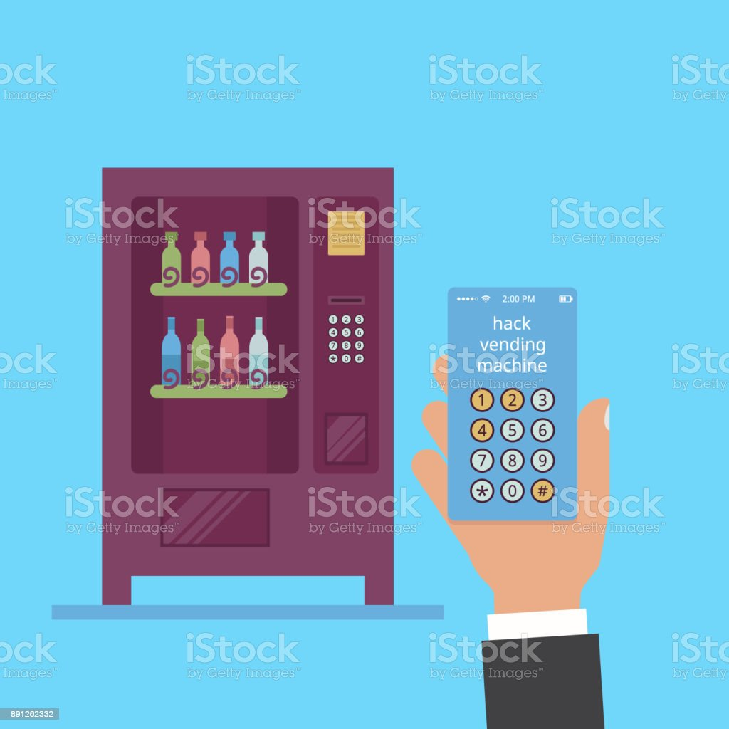 Hack vending machine. In the hand is a smartphone with a hack code. Wine vending in a flat vector vector art illustration