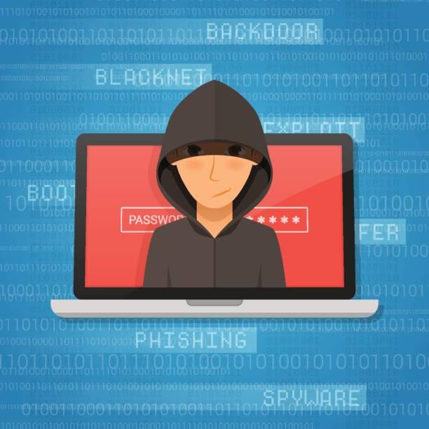 hacker-aktivität und angriff-konzept. vektor-illustration. - laptoptaschen stock-grafiken, -clipart, -cartoons und -symbole