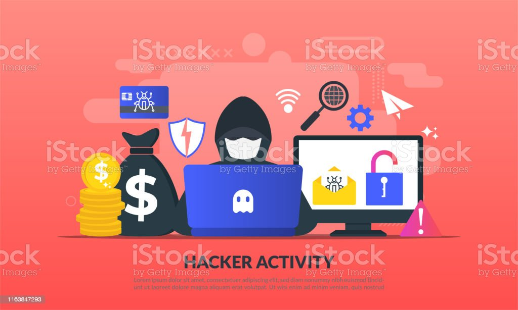 Hacker activity concept, security hacking, online theft, criminals, burglars wearing black masks, stealing personal information from computer, flat icon,suitable for web landing page, banner, vector template Hacker activity concept, security hacking, online theft, criminals, burglars wearing black masks, stealing personal information from computer, flat icon,suitable for web landing page, banner, vector template Adult stock vector