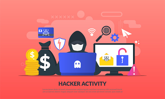 Hacker Activity Concept Security Hacking Online Theft Criminals Burglars Wearing Black Masks Stealing Personal Information From Computer Flat Iconsuitable For Web Landing Page Banner Vector Template Stock Illustration - Download Image Now