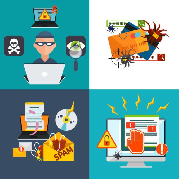 ilustraciones, imágenes clip art, dibujos animados e iconos de stock de hacker actividad de correo no deseado, virus la piratería informática y el correo electrónico - robo de identidad