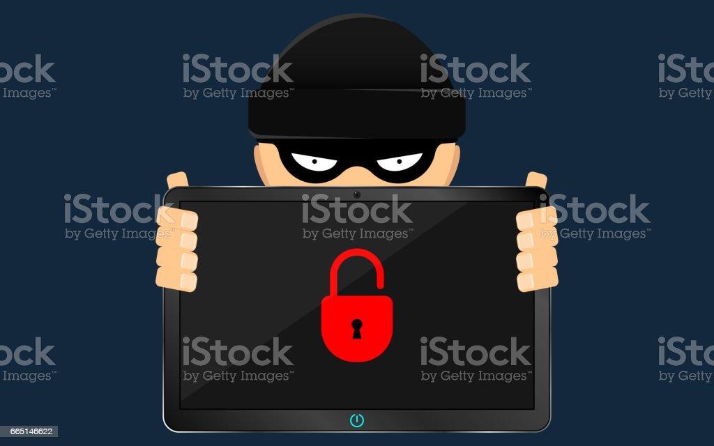 Ein Hacker und ein Schurke halten eine zerbrochene Tablette in ihren Händen. Ein ernstes Problem, den Verlust von Daten. Banditen in eine schwarze dunkle Maske verbirgt sein Gesicht. Flachen Stil – Vektorgrafik