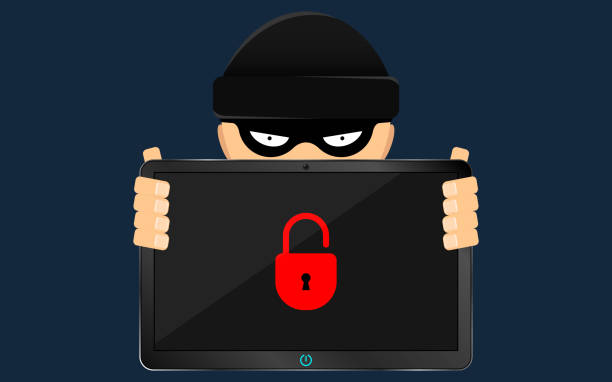 a hacker and a rascal are holding a broken tablet in their hands. a serious problem, the loss of data. bandits in a black dark mask hides his face. flat style - identity theft stock illustrations, clip art, cartoons, & icons