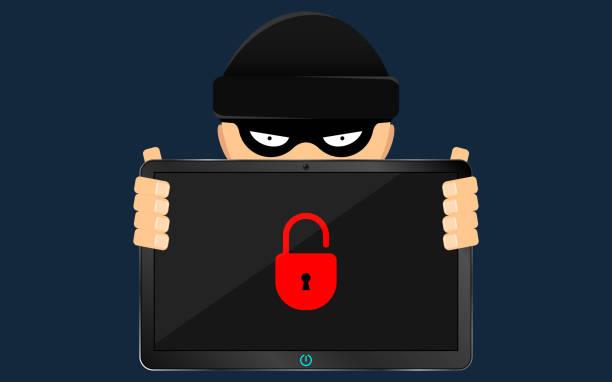 ilustrações, clipart, desenhos animados e ícones de um hacker e um malandro estão segurando um comprimido quebrado em suas mãos. um problema grave, a perda de dados. bandidos em uma máscara escura preta esconde seu rosto. estilo simples - roubo de identidade