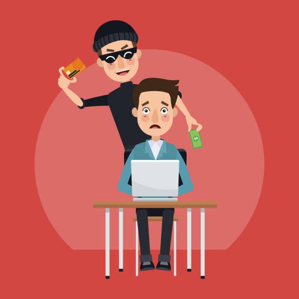 ilustraciones, imágenes clip art, dibujos animados e iconos de stock de hacker y sistema de seguridad - robo de identidad