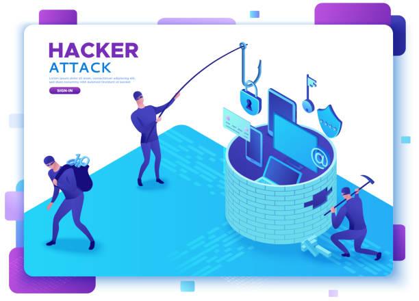 Hackerangriff, mobiles Sicherheitskonzept, Datenschutz, Cyber-Kriminalität, 3d isometrische Vektorabbildungen, Fingerabdruck, Phishing-Betrug, Informationsschutz, Smartphone-Sicherheit – Vektorgrafik