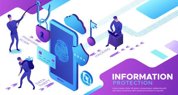 ilustrações, clipart, desenhos animados e ícones de ataque hacker, conceito de segurança móvel, proteção de dados, crime cibernético, ilustração vetorial 3d isométrica, impressão digital, golpe de phishing, proteção de informações, segurança de smartphones - roubo de identidade