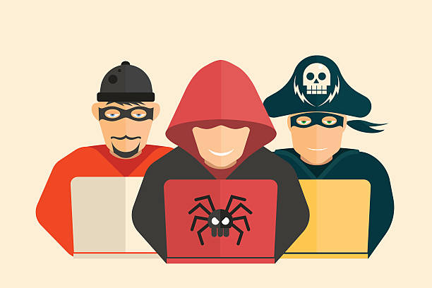 Hacker, computer pirate and scammer. Cyber security. Hacker, computer pirate and scammer. hacker stock illustrations
