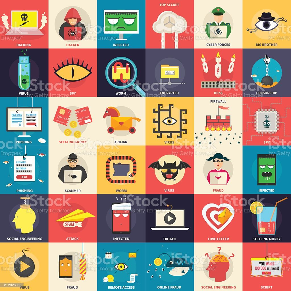 Hacker, computer security icons. Design elements for infographics. vector art illustration