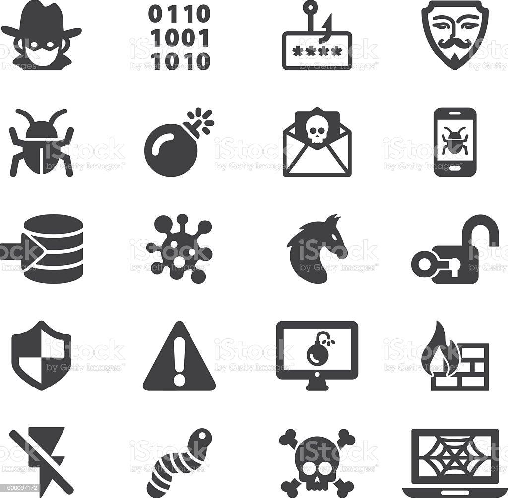 Hacker Cyber Crime Silhouette Icons | EPS10 ilustración de hacker cyber crime silhouette icons eps10 y más vectores libres de derechos de ícono libre de derechos
