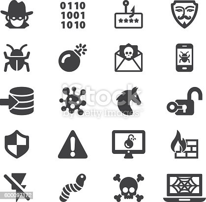 Hacker Cyber Crime Silhouette Icons