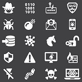 Hacker Cyber Crime White Silhouette Icons