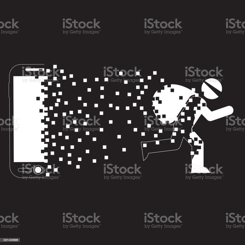 Hacker data out of smartphone vector art illustration