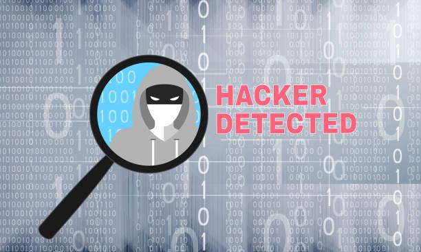 Hacker entdeckt Thema mit Lupe – Vektorgrafik