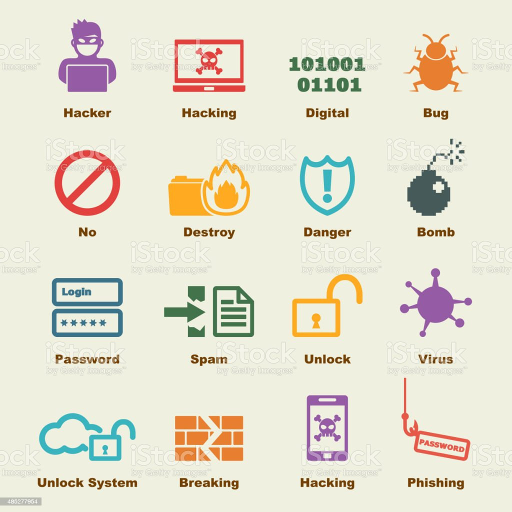 hacker elements vector art illustration