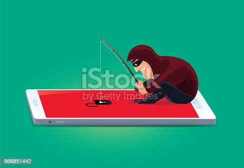 vector illustration of hacker fishing with unlocked smartphone