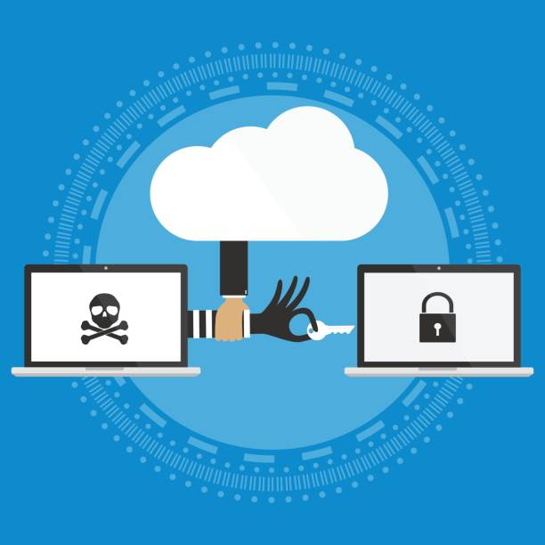 Hacker hand with key to hacking to victim laptop computer protected with cloud security.Vector illustration cloud computing security design. vector art illustration