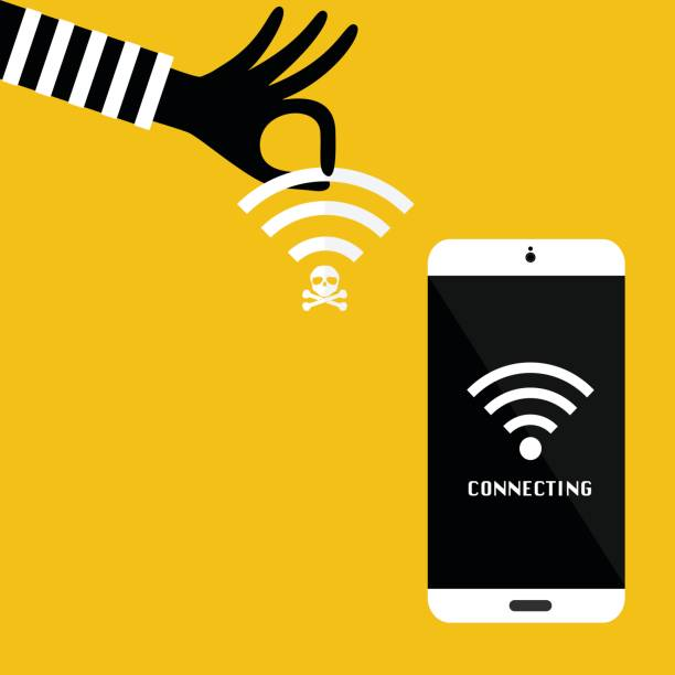 Hacker hand with unsecured public wireless hotspot for victim mobile phone connecting. Vector illustration business cybercrime concept. vector art illustration