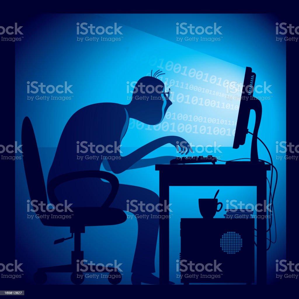 Hacker hard at work hunched over a keyboard vector art illustration