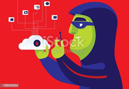 vector illustration of hacker holding locked cloud computing and key
