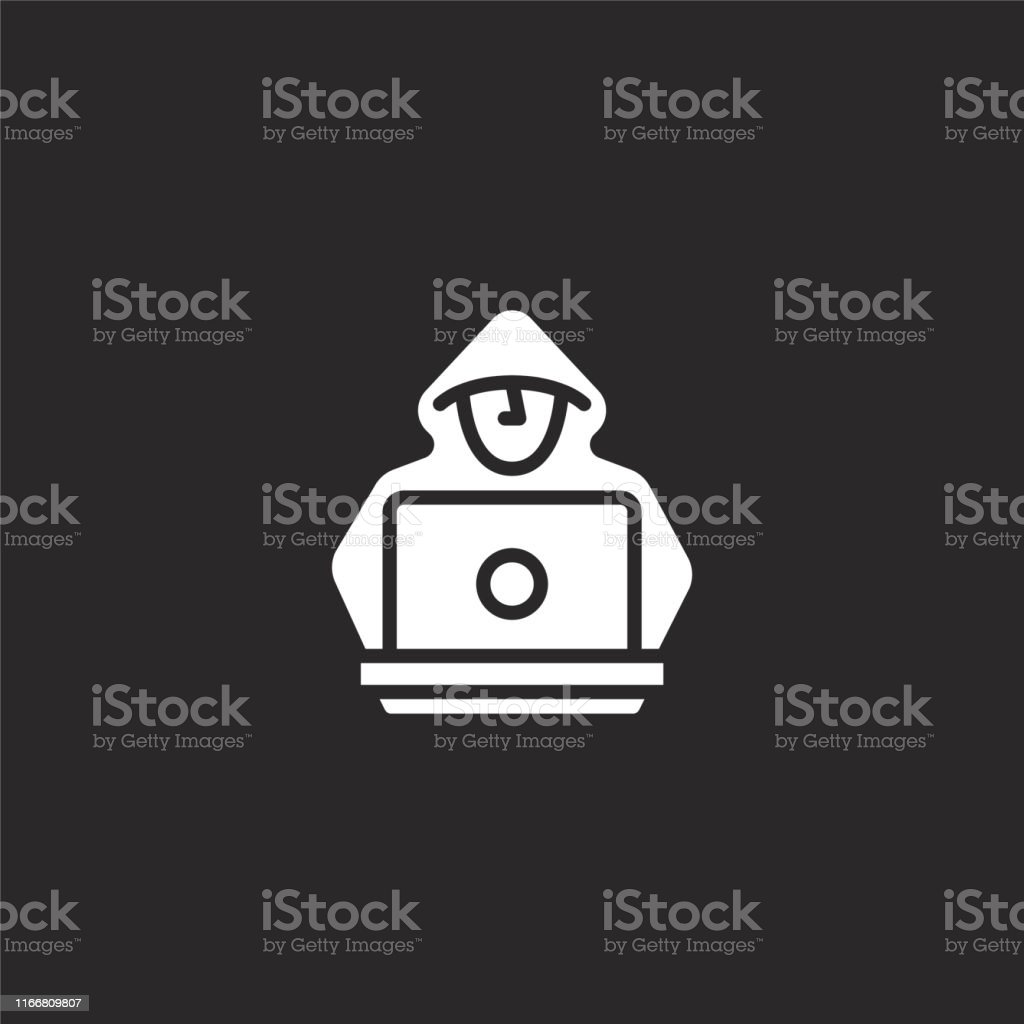 Hacker Icon Filled Hacker Icon For Website Design And Mobile App Development Hacker Icon From Filled Cyber Security Collection Isolated On Black Background Stock Illustration Download Image Now Istock