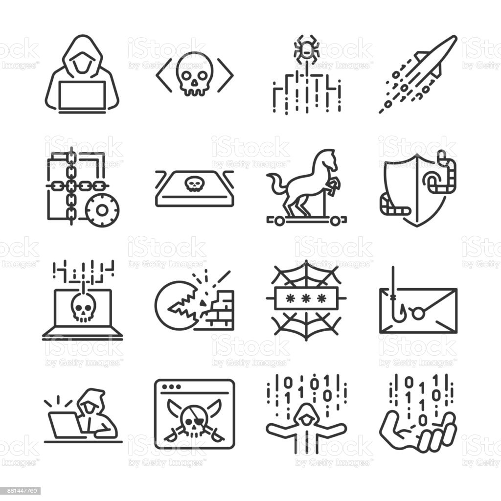 Hacker icon set. Included the icons as hacking, malware, worm, spyware, computer virus, criminal and more. - Векторная графика Бизнес роялти-фри