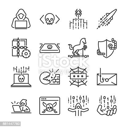 Hacker icon set. Included the icons as hacking, malware, worm, spyware, computer virus, criminal and more.