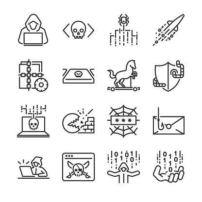 Hacker Icon Set Included The Icons As Hacking Malware Worm Spyware Computer Virus Criminal And More Stock Illustration - Download Image Now