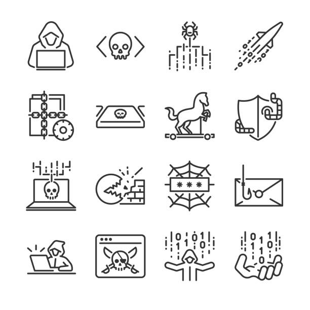 Hacker icon set. Included the icons as hacking, malware, worm, spyware, computer virus, criminal and more. Hacker icon set. Included the icons as hacking, malware, worm, spyware, computer virus, criminal and more. hacker stock illustrations