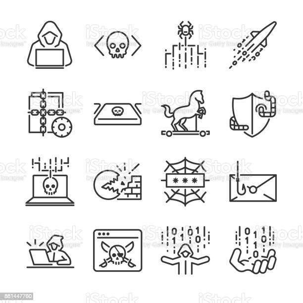 Hacker Icon Set Included The Icons As Hacking Malware Worm Spyware Computer Virus Criminal And More — стоковая векторная графика и другие изображения на тему Бизнес