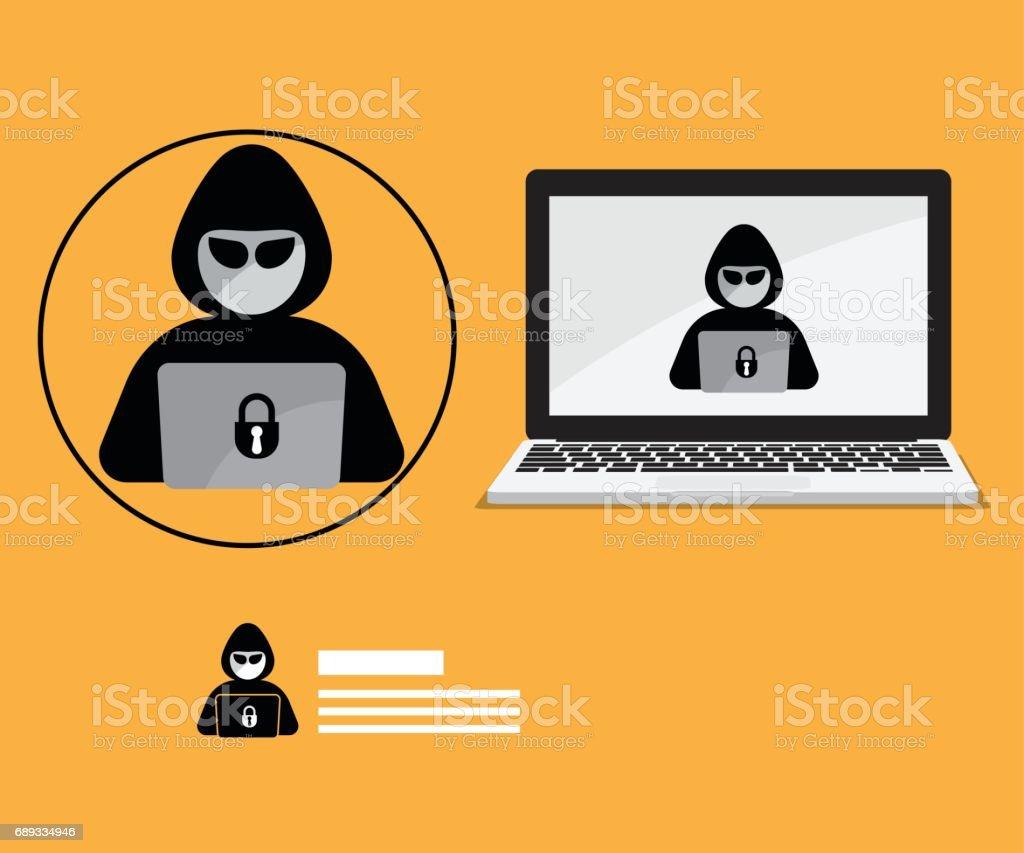 Hacker Icon With Laptop Background Stock Illustration Download Image Now Istock