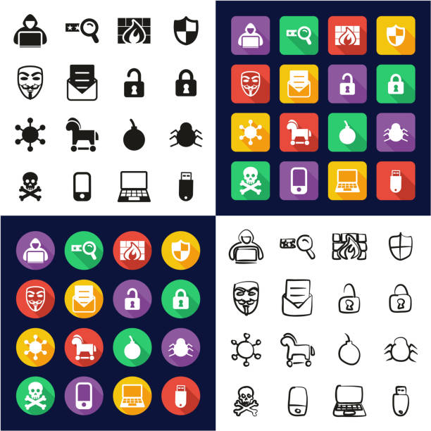 Hacker Icons All in One Icons Black & White Color Flat Design Freehand Set vector art illustration
