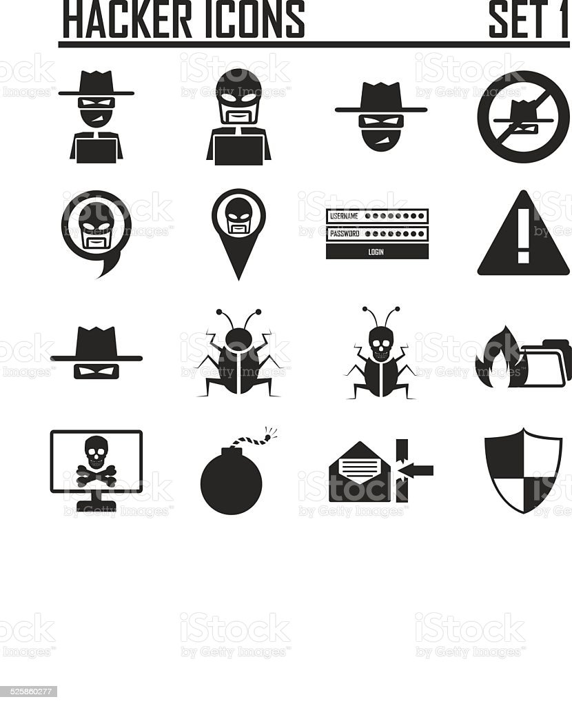 hacker icons set 1 vector art illustration