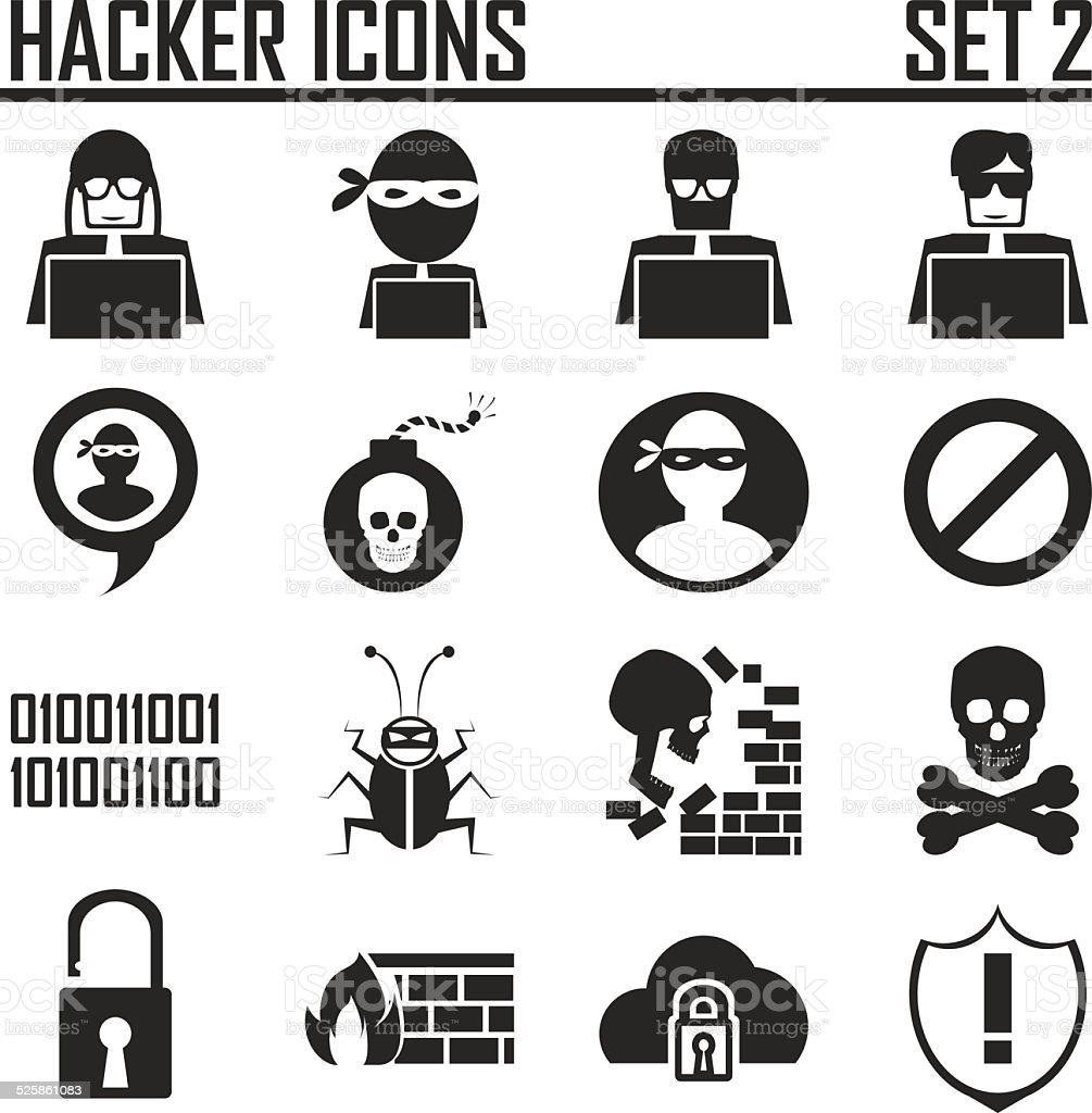 hacker icons set 2 vector art illustration