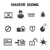 hacker icons, mono vector symbols