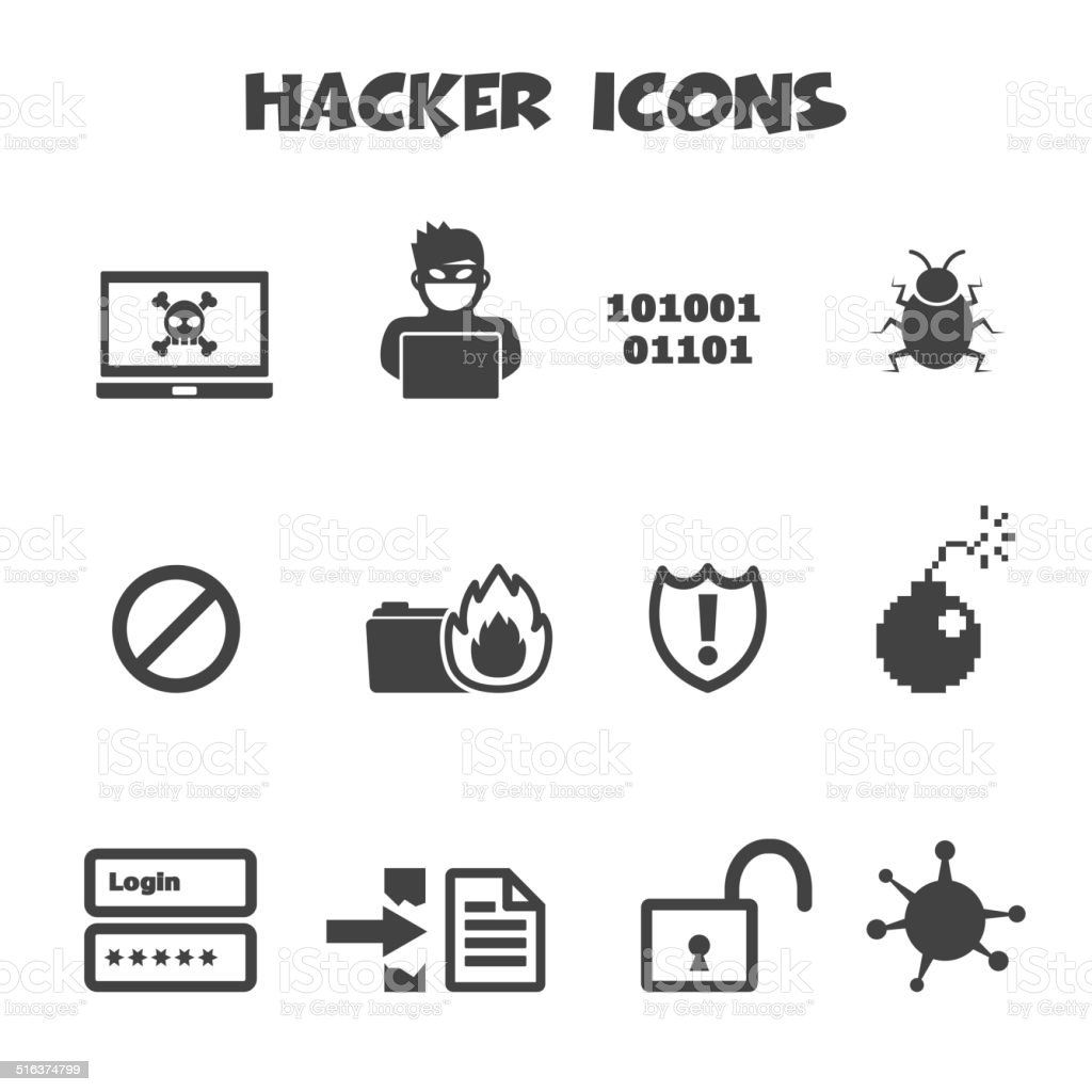 hacker icons vector art illustration