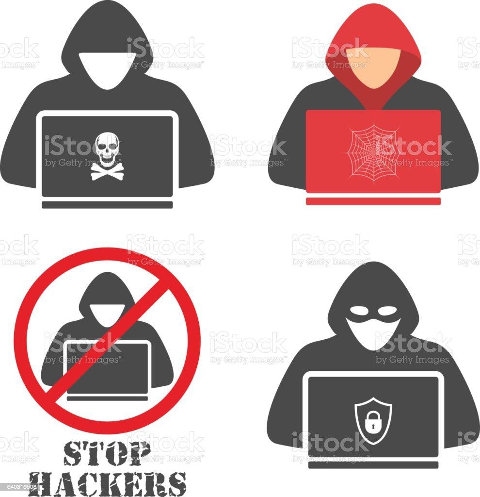 Hacker icons. vector art illustration