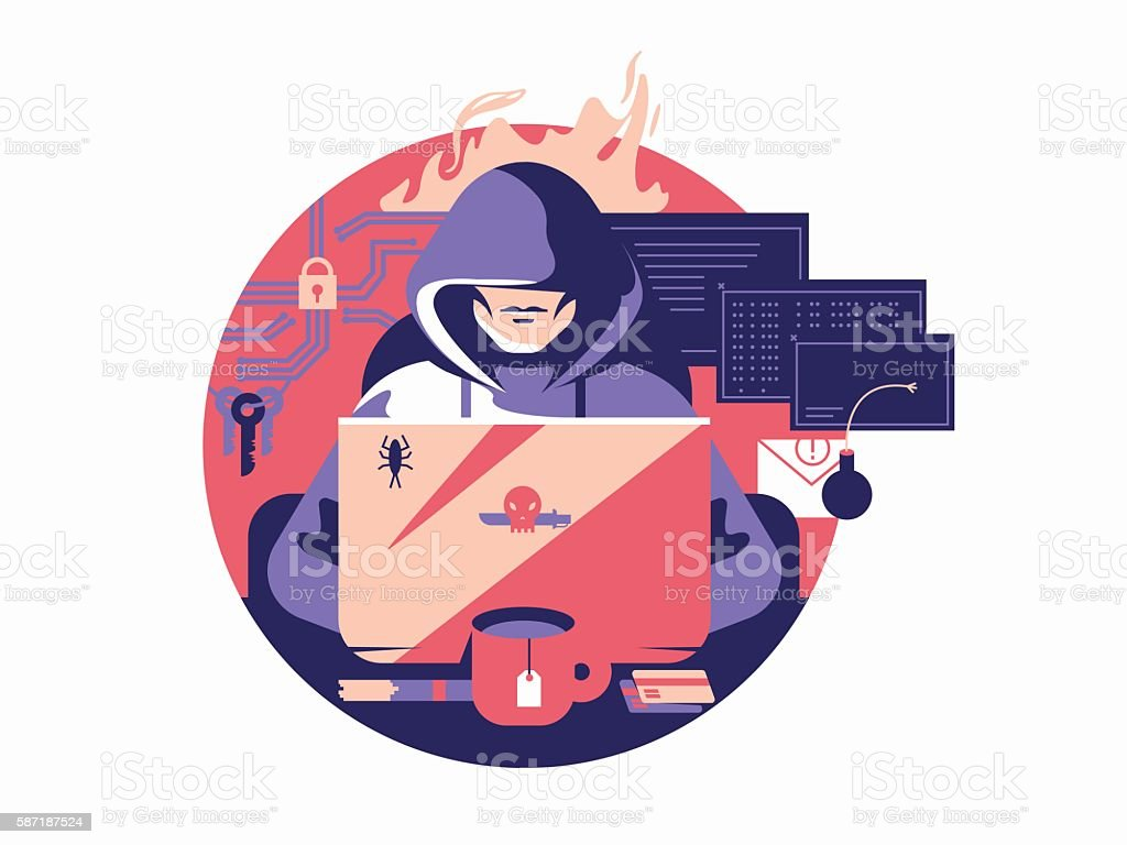 Hacker in shadowing vector art illustration