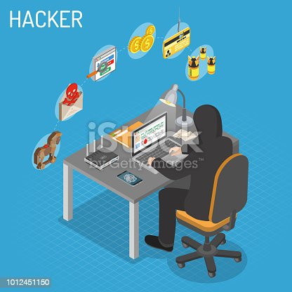 Hacker sitting table and hacking data through Internet on laptop. Internet Security isometric Concept with Flat Icons Hacker, Virus and Spam.