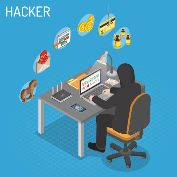 Hacker Isometric Concept Hacker sitting table and hacking data through Internet on laptop. Internet Security isometric Concept with Flat Icons Hacker, Virus and Spam. hacker stock illustrations