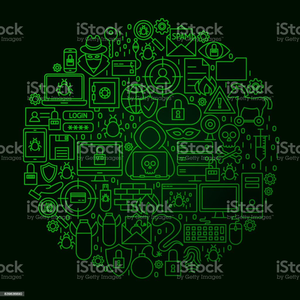 Hacker Line Circle Concept vector art illustration