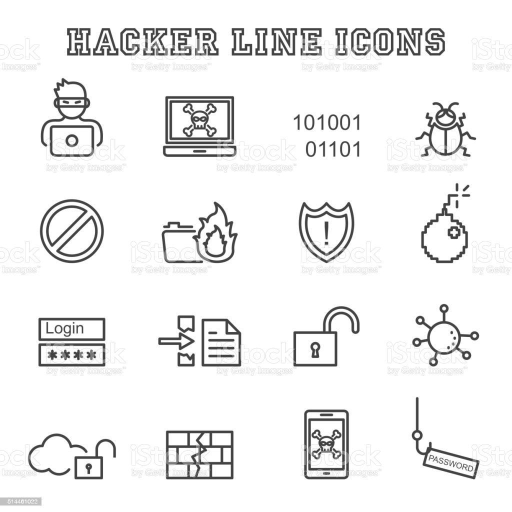 hacker line icons vector art illustration