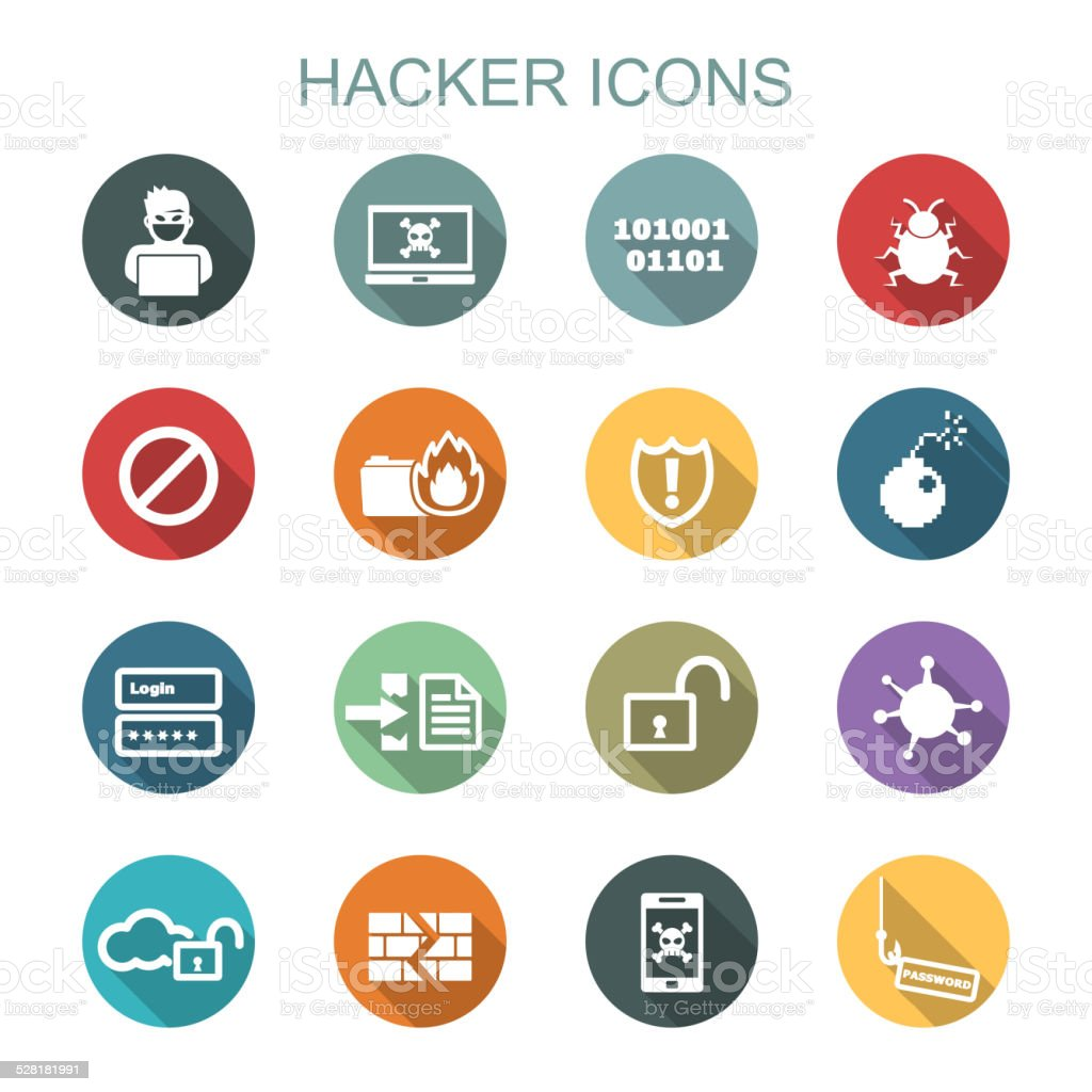 hacker long shadow icons vector art illustration