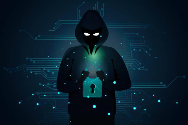 stockillustraties, clipart, cartoons en iconen met hacker man gebroken slot veiligheid door hand cyber crime concept - steel