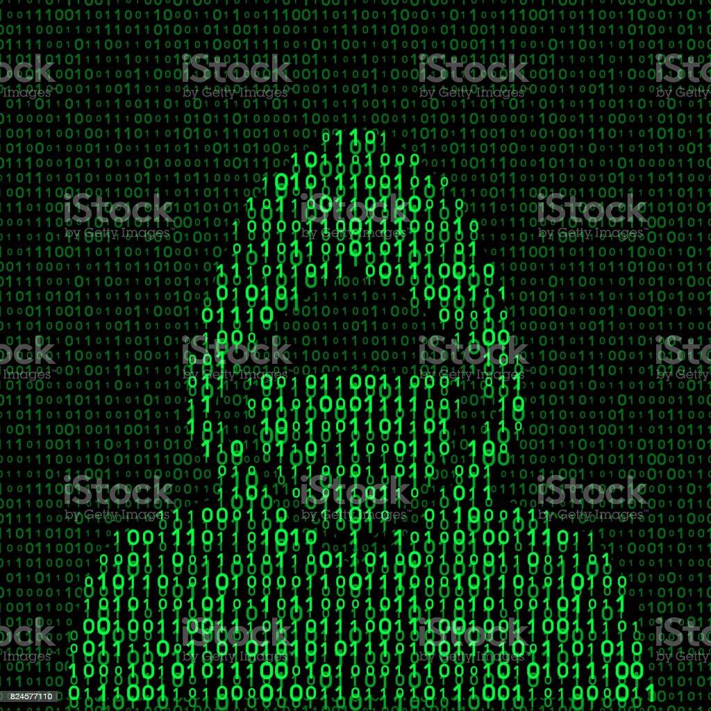 hacker on binary code background vector art illustration