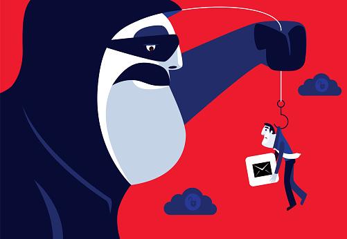 hacker phishing and catching businessman
