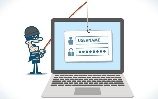 ilustraciones, imágenes clip art, dibujos animados e iconos de stock de infección de ordenadores de phishing de hacker - robo de identidad