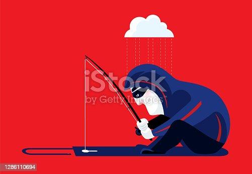 vector illustration of hacker phishing with open padlock