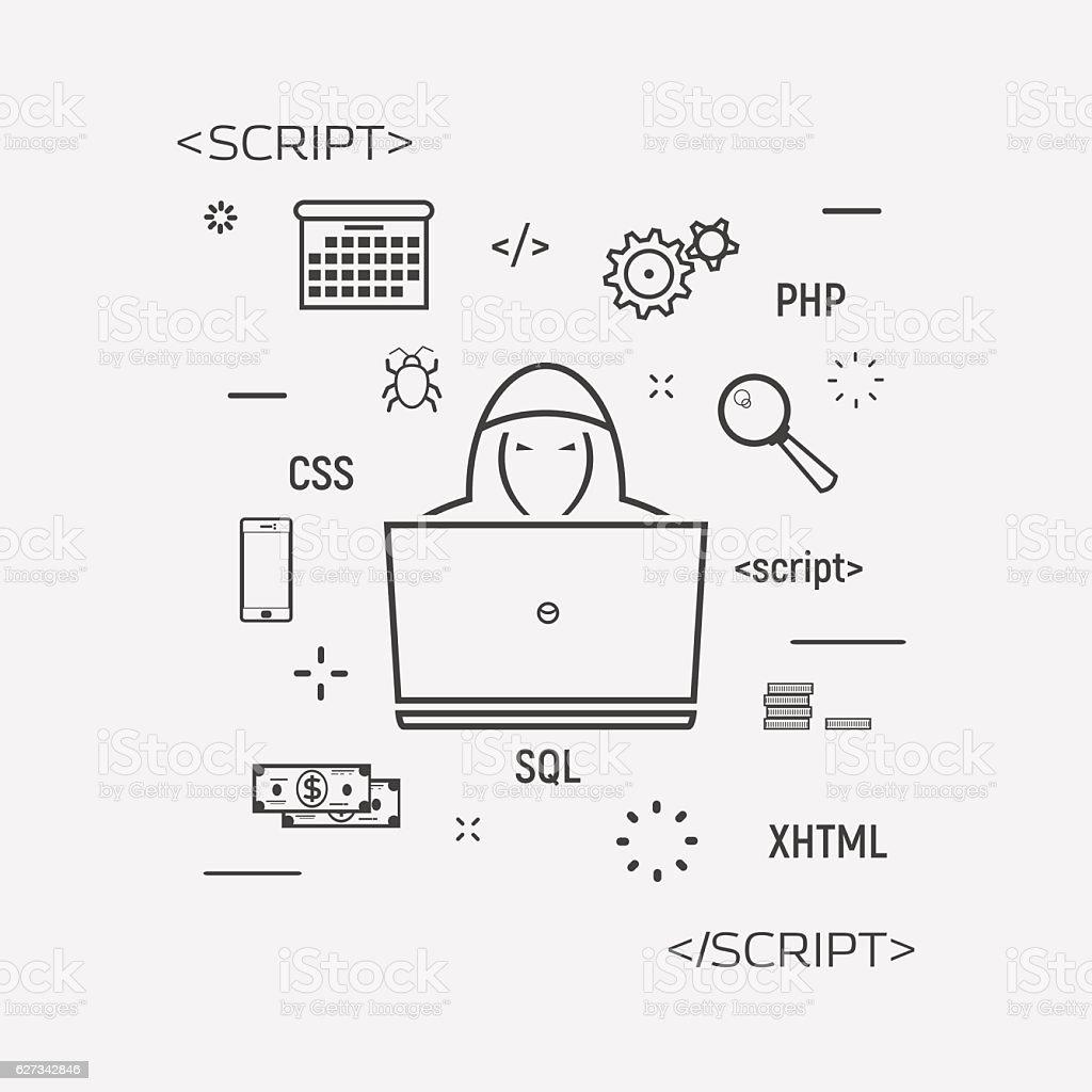 Hacker Programming Line Icon vector art illustration
